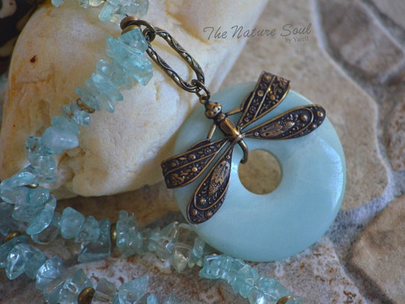 Dragonfly Necklace / Turquoise necklace / Donut necklace / Brass necklace / Brass / Vintage necklace / Bohemian necklace / Boho necklace