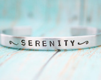 Bracelet Skinny Stacking Hand Stamped Jewelry Cuff  SERENITY Personalized Inspirational Inspiring Serene 12g Aluminum Silver Metal