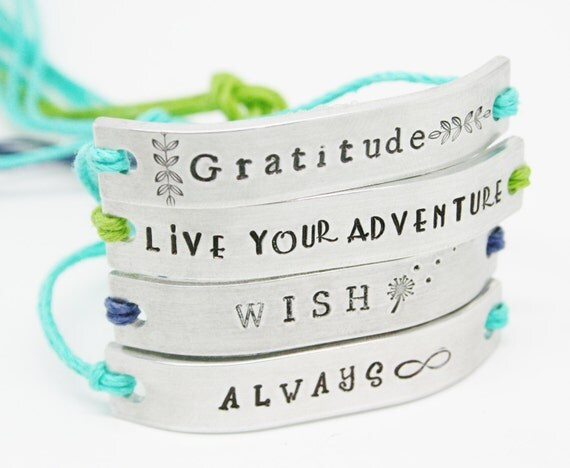 SET of 7 Friendship Bracelets BFF Custom Hand Stamped Family Friends Name Tie On Hemp Cord  Personalized Bulk Gift For Teens Church Group
