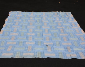 Vintage Quilt Top Handmade Hand Stitched Light Blue Tan Striped Farmhouse Decor Cottage Chic Rustic Primitive Craft Cutter Quilt (25)