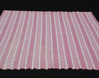 Vintage Twin Bedspread Tablecloth Pink White Stripe Reverse Print Shabby Cottage Chic