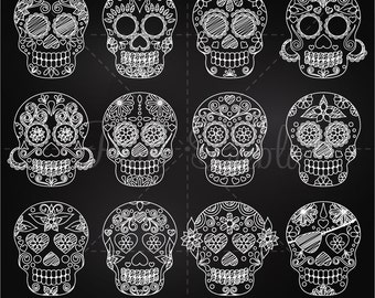 Chalkboard Day of the Dead Skull Clipart Clip Art, Chalk Sugar Skulls Clipart Clip Art Vectors - Commercial and Personal Use