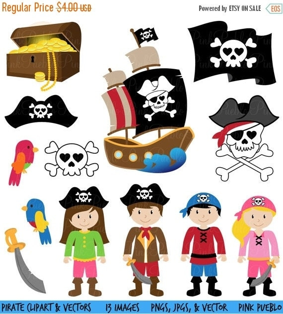 HALLOWEEN SALE Pirate Clipart Clip Art and Vectors - Commercial and Personal Use