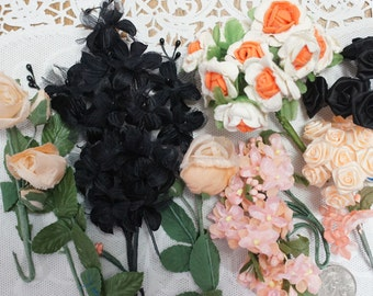 Orange Black and Peach Millinery Flowers 45 Stems