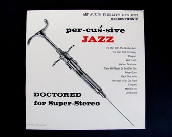 Vintage Vinyl Record Album per-cus-sive JAZZ DOCTORED for Super-Stereo DFS 7002 Peter Appleyard 1960 Theme From Dragnet Peter Gunn