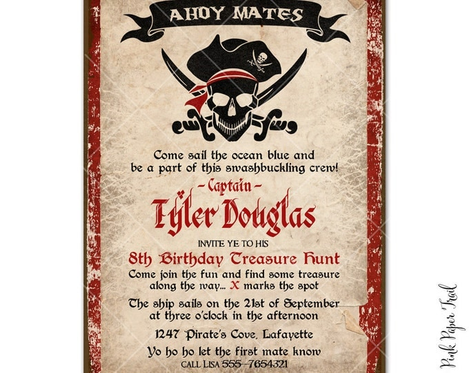 Pirate Party Invitation, I will customize for you, Print your own