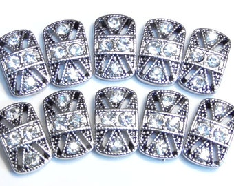 Ten 2 Hole Slider Beads, 2 Hole Spacer Beads Antiqued Silver Tone Ornate 3mm Clear Crystal Studded