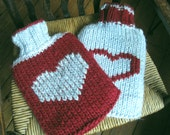 Hand knit hot water bottle cover, proceeds to charity, cosy, berry and silver, heart design