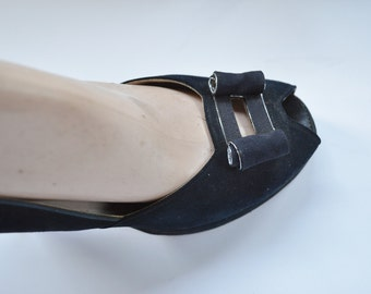 """1940s Womens Shoes Size 6.5 B by Palter DeLiso Peep Toe Platform Pumps Black Suede Pump with 4"""" Heel Faille Ribbon Trim and Bow Rockabilly"""