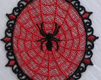UK Black on red gothic lace spider web applique, trimming, choker centerpiece,fascinator, wedding