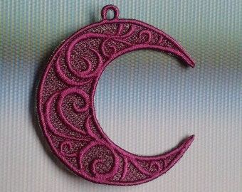 UK Purple crescent moon lace applique, lunar trimming, Pagan, card topper, jewellery