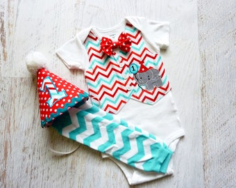 Circus Time First Birthday Tuxedo Bodysuit Vest with Removable Matching Bow Tie