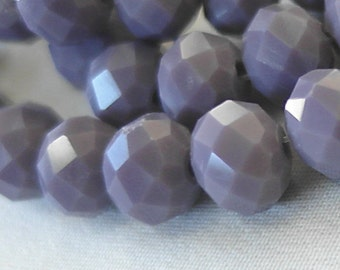 "10mm Soft Purple Heather Opaque Faceted Crystal Rondelle Beads, 10mm x 8mm, 33 beads, 10"" strand"