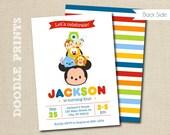 "Tsum Tsum Mickey Birthday Party Invitation - Disney Tsum Tsum Inspired Invitation - Customized Printable Invitation Party - size 5x7 or 4x6"""