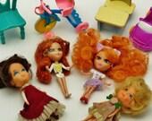Little Kiddles dolls Peek a boo Rare Vintage 4 mini Mattel miniature dollhouse furniture car chair desk