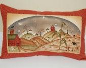Harvest Town Pillow, Primitive, Fall, Thanksgiving, Corn