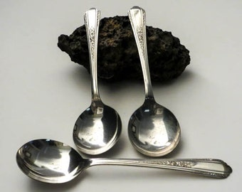 Deerfield Silver Plate Bouillon Spoons - 1933 Set of 3