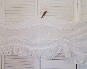 White Eyelet Curtain Valance