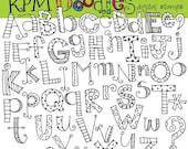 ON SALE KPM Alphabet soup digital black line clip art