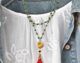 Aqua Haolite Necklace -  Chunky Haolite Necklace - Tassel Necklace - Two Strand Necklace