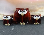Set of 3 Owl Beads DarkBrown Transparent, Made to order, Lampwork glassbeads, artisan beadshandmade glass beads, jewelry supplies