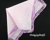 Vintage Handkerchief Pale Purple Crochet Border