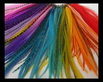 Colored Feather Hair Accessories Medium Length Hair Feathers Short Feather Extensions for Bangs Mohawks Bright Colored Real Feathers, 25Pack
