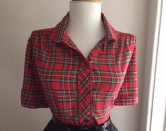 Vintage Cotton Red Checkered Scotch Plaid 1950s 1960s Rockabilly Button Down Short Sleeve Blouse