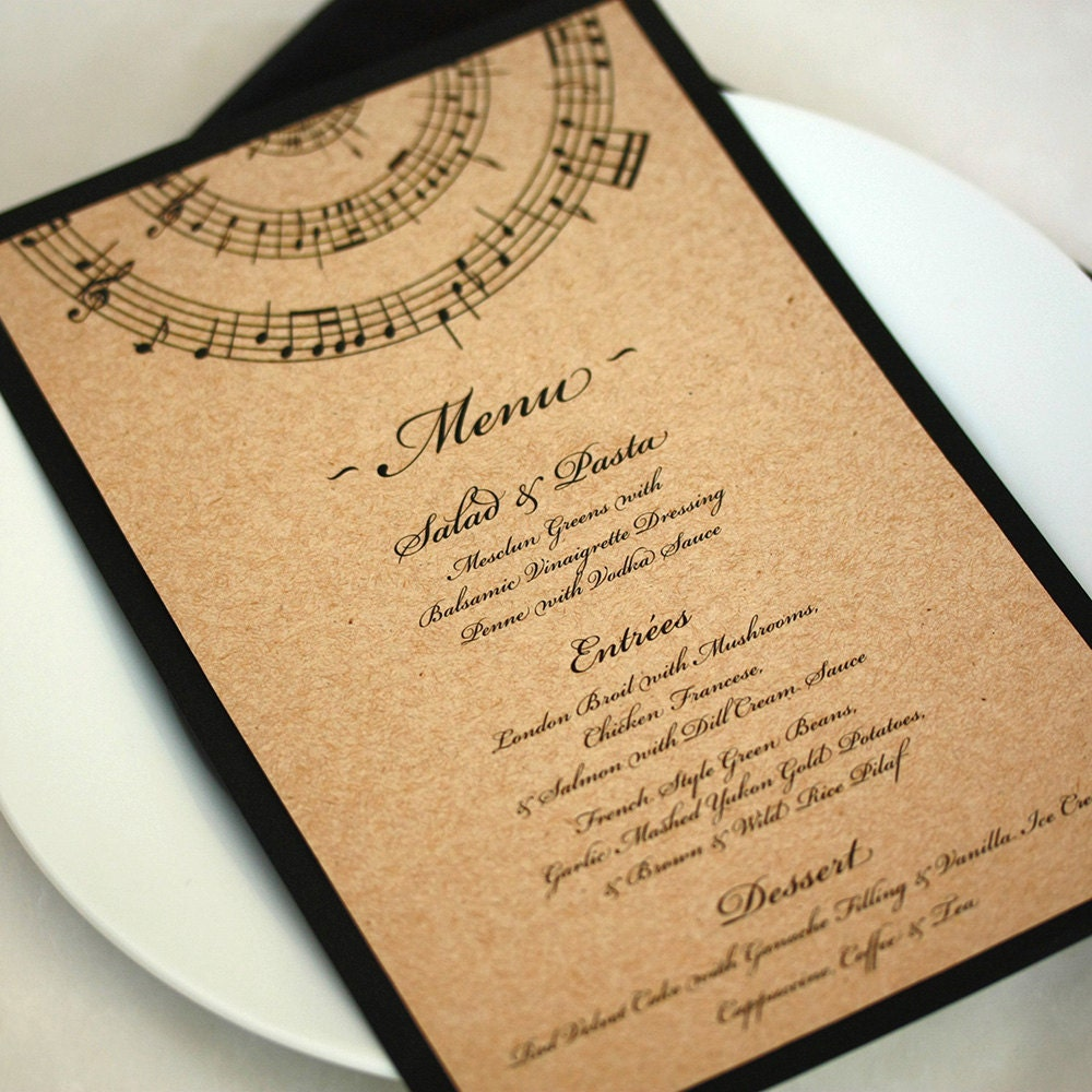 Music Wedding Menu Note Dinner DEPOSIT
