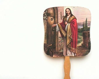 Antique Vintage Hand Held Church Fan Jesus Knocking