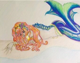 Mermaid Ashore High Quality Canvas Art Print- FREE SHIPPING!