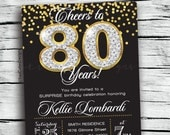 80th birthday invitations - Cheers to 80 years - Adult Invitations