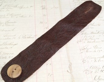 Soft Brown Leather Cuff, with a Wooden Button & Vine Pattern, Eco Friendly