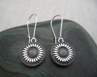 Silver Sunflower Earrings - Silver Flower Earrings - Simple Everyday Dangle Earrings