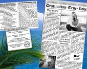 Destination Wedding Mini Newspaper - Itinerary - Timeline of Events - Information for Guests