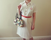 CLEARANCE Vintage M/L Rockabilly Nautical White Sailor Dress with Red Anchor Emblem