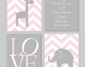 "Read Me A Story Tuck Me In Tight Sign Pink and Grey Nursery Elephant Nursery Love Chevron Prints Nursery Art Set of four 8""x10"" prints"