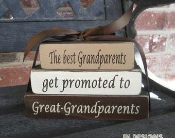 "Grandma/mothers day ""MINI""stacker blocks--The best Grandparents get promoted to Great-Grandparents"