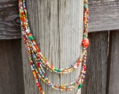 African Glass Multi-Color Long Necklace - Multi Strand, Boho Necklace