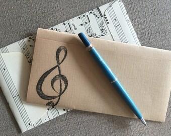 FREE SHIP Sheet Music Letter Set - One Sheet Music Envlelope and Notepaper