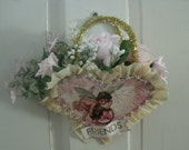 HEART WALL hanging pocket valentines day roses 9 1/2 x 10 PINK friends
