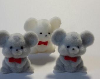 """3 mini FLOCKED MICE soft velvety feel gray white 1 1/2"""""""
