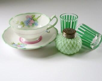 Vintage Paragon China Tea Cup Set, Pink, Mint Green, and Blue Paragon Teacup and Saucer,Pastel Tea Cups and Saucers