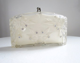 Vintage Carved Lucite Clutch Rialto   /  Lucite Clutch Box Purse with Rhinestones Comb and Mirror  /  Clear Lucite Purse with Satin Lining
