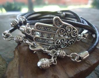 Fatimas Hand, Leather & BALLS - wrap bracelet (1314)