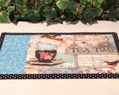 Quilted Mug Rug - Tea Time Snack Mat -  Candle Mat Quiltsy Handmade
