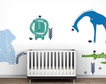 Blue and Green Wall Decal Royal Safari Mural by LittleLion Studio. Baby boy nusery decor wall sticker. Lion, Giraffe, Elephant and Croco
