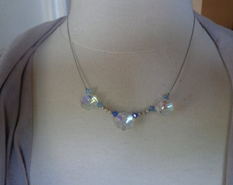 """Artisan Created Illusion Style 17"""" Necklace w/ Swarovski Crystals and Sterling Silver Beads"""