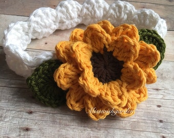 Sunflower Baby Headband, Baby Sunflower Flower Headband, Newborn Headband, headband baby girl, Sunflower Summer Headband, Best Selling