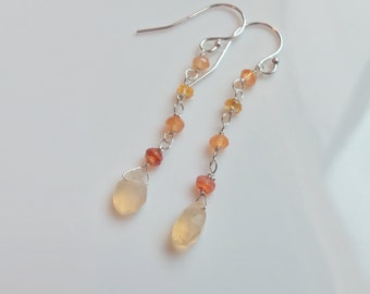 Mexican Fire Opal Gemstones Wire Wrapped with Sterling Silver Dangle Earrings